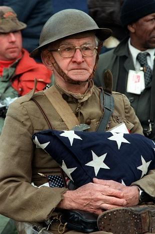 World War I veteran Joseph Ambrose, 86, at the dedication day parade for the Vietnam Veterans Memorial in 1982 Source: Wikimedia